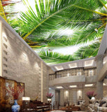 palm tree leaves wallpaper ceiling