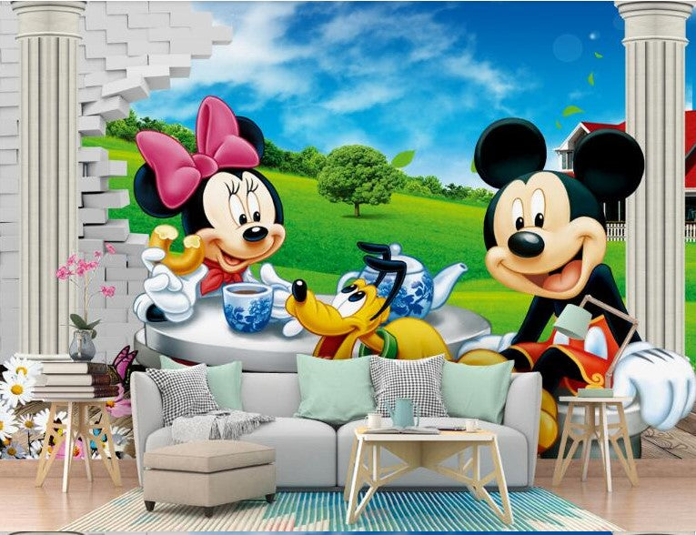 Minnie Mickey Mouse And Pluto Tea Party Wallpaper Mural For Kids