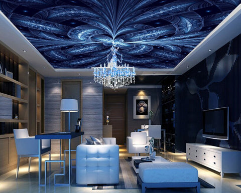 blue abstract ceiling mural