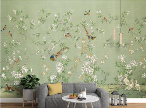 retro birds wall mural