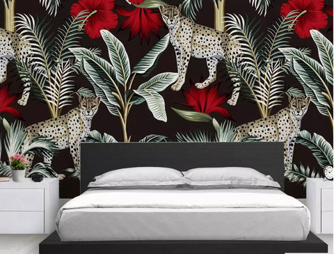 Stylish Cheetah Red Flowers Wallpaper Tropical Leaves ...