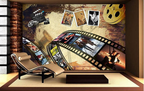 Retro Graffiti Film Theme Wallpaper for Home or Business Cinema