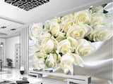 white roses floral wall mural