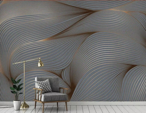 gray abstract lines mural