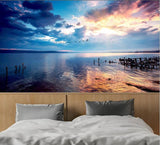 sunset lake wall mural