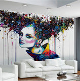 abstract girl's face mural