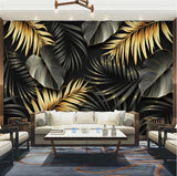 gold and black tropical leaves wallpaper