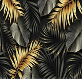 black and gold tropical leaves design wallpaper