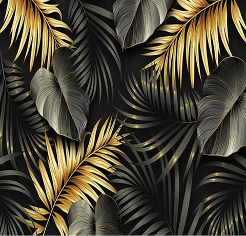 Stylish Gold And Black Hand Painted Tropical Leaves Wallpaper Mural Beddingandbeyond Club Green photo wallpaper with a tropical leaf pattern in different shades with large white flowers. usd