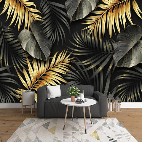 black gold tropical leaves mural