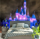 fairytale castle night with lights wallpaper