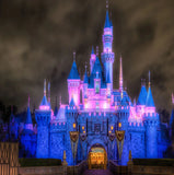 fairytale castle night with lights wall mural