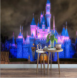 fairy tale castle lights night wallpaper