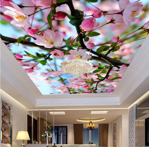 peach blossom ceiling wallpaper