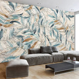 retro hand painted leaves wallpaper