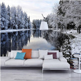 snowy forest lake wall mural