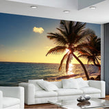 tropical beach sunset wall mural