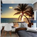 mural tropical beach sunset