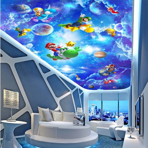 Super Mario Cartoon Ceiling Sky Wallpaper for Kids' Room