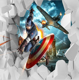 3d captain america wall mural