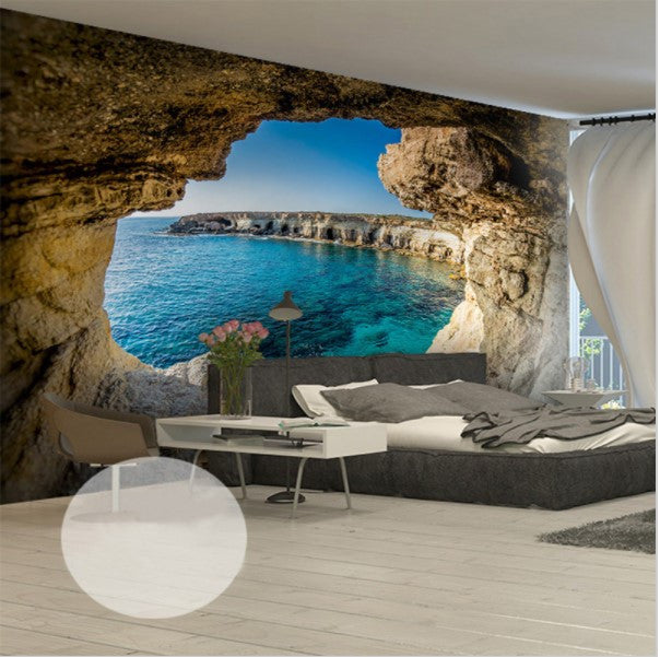 Cave Ocean View Scene Wallpaper For Home Or Business