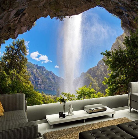 3d Cave Opening Waterfall Natural Landscape Mural ...