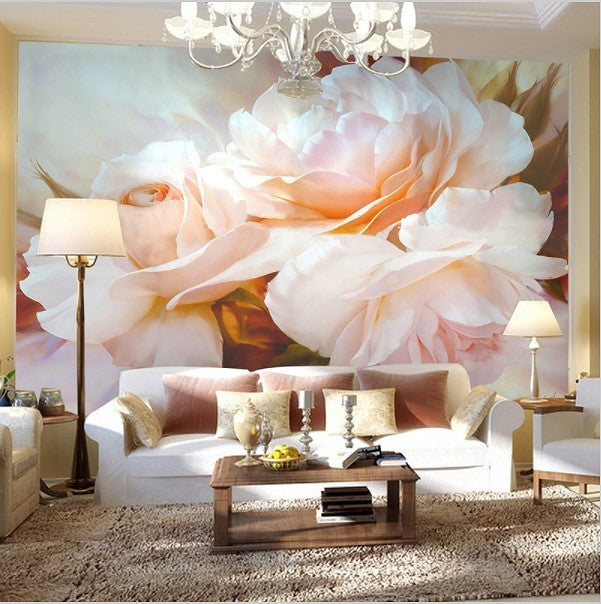 Classic Design Large Pink Peony Flower Wall Mural Custom