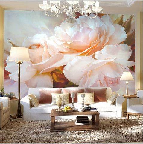 Classic Design Large Pink Peony Flower Wall Mural Custom Wall Paper