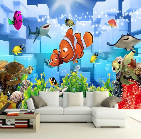 3D Finding Nemo Dory Colorful Fish Coral Turtle Shark Window Wall