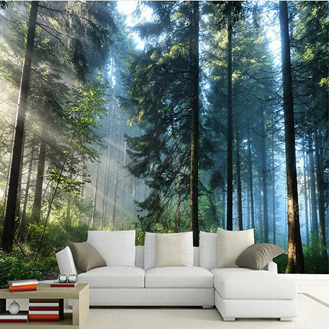 3D Forest With Sunshine and Trees Photo Print Wall Mural Wallpaper