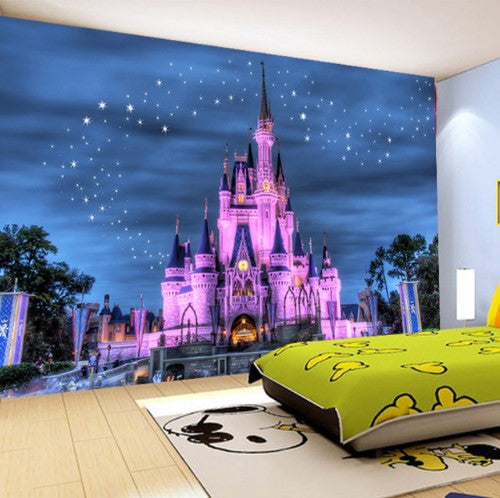 3d Pink Cartoon Fantasy Castle With Starry Sky Background