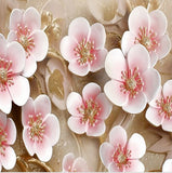 3d relief pink flower wall mural