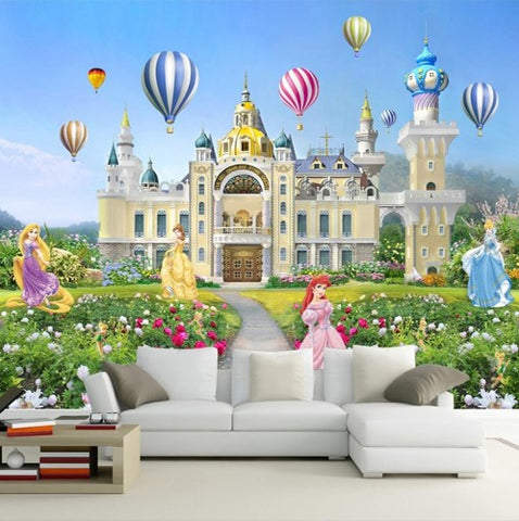 cartoon princess castle wall mural