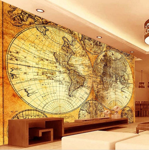 3d retro world map european style embossed seamless wallpaper mural 3d retro world map wallpaper gumiabroncs Gallery