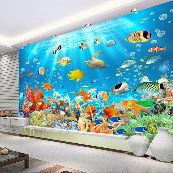 3d Underwater World Ocean Fish And Coral Photo Wallpaper