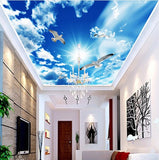 white doves ceiling wallpaper