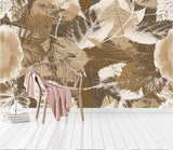 abstract brown leaves wall mural