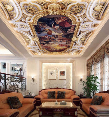 European design angels ceiling mural