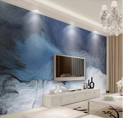blue abstract design wall mural