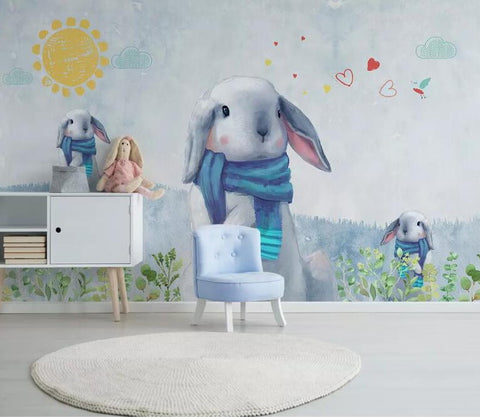 bunny hand drawing mural
