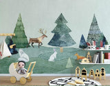 nordic forest animals mural