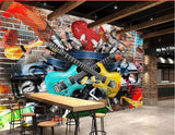 retro graffiti guitars mural