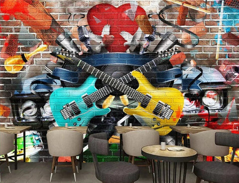 retro graffiti music mural