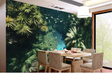 rain forest leaves mural
