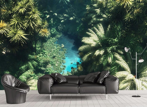 rain forest lake wall mural