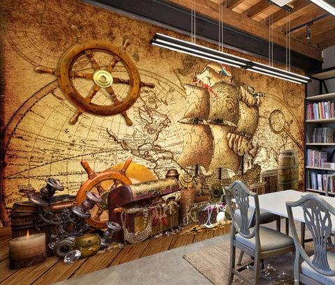 pirate ship retro wall mural
