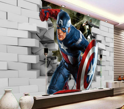 Avengers Captain America 3D Wall Mural Wallpaper