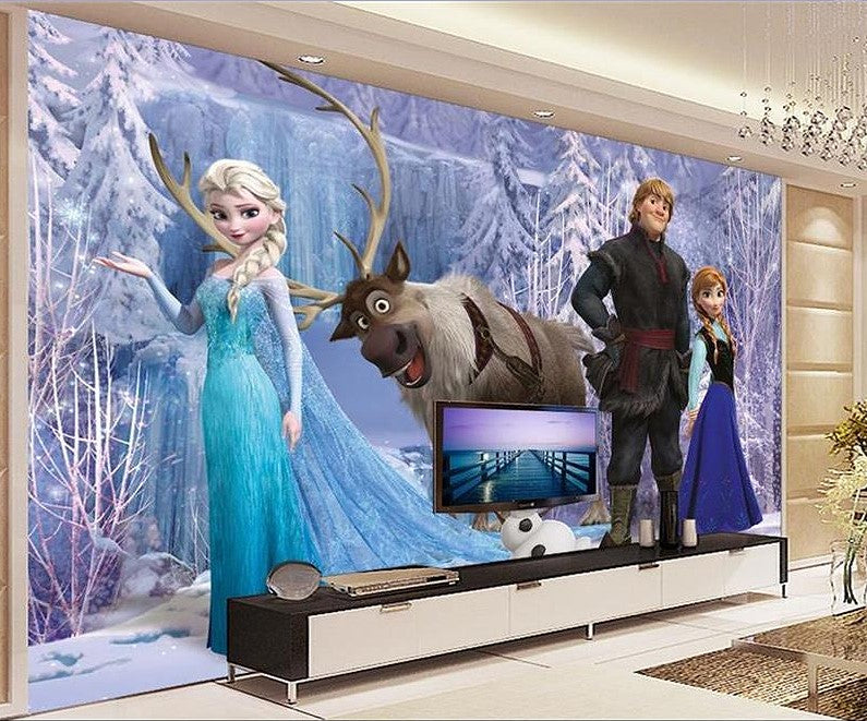 3d Ice Queen Elsa Frozen Cartoon Wallpaper For Walls Kids