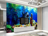 large shark wall mural