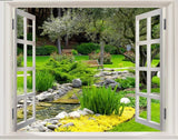 open window park scene wall mural